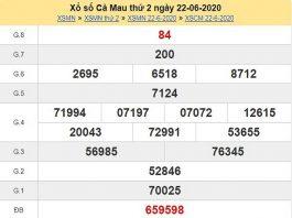 Phân tích KQXSCM- Dự đoán xổ số cà mau thứ 2 ngày 29/06/2020