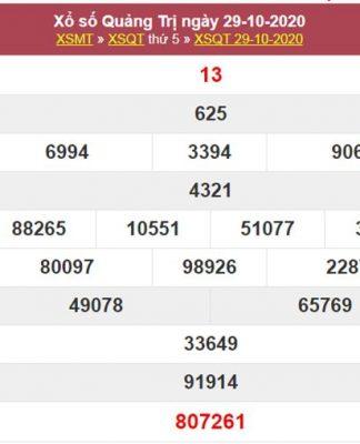 Dự đoán XSQT 5/11/2020 chốt lô Quảng Trị tỷ lệ trúng cao