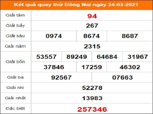 Quay thử kết quả xổ số Đồng Nai 24/3/2021